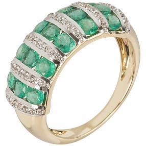 Ring 585 Gelbgold Sambia Smaragd, Zirkon