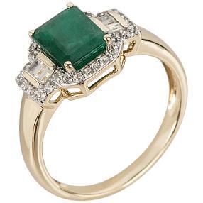 Ring 585 Gelbgold Brasilianischer Smaragd, Zirkon