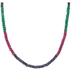 Collier Korund/Rubin/Saphir tricolor