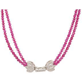Collier pink Korund 2-reihig, Schmuckverschluss