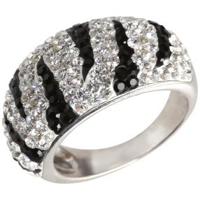 Ring 925 St. Silber Swarovski Elements schwarzweiß