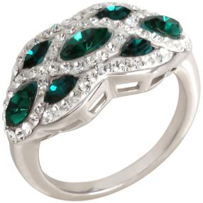 Ring 925 Sterling Silber Swarovski Elements grün