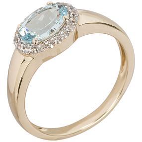 Ring 585 Gelbgold Aquamarin+Zirkon