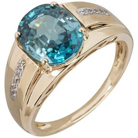 Ring 585 Gelbgold blue + white Zirkon