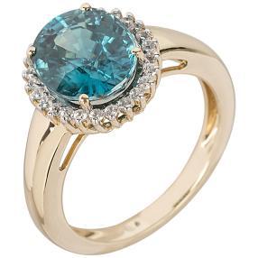 Ring 585 Gelbgold Zirkon blau und weiß
