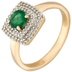 Ring 375 Gelbgold, Smaragd + Zirkon