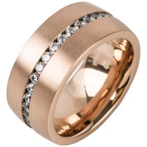Ring Titan rosevergoldet Zirkonia
