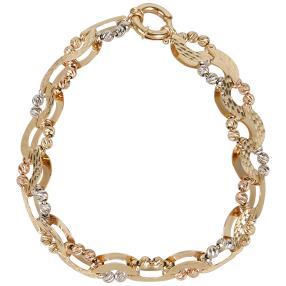 Fantasie-Armband 585 Gelbgold/Weißgold/Roségold