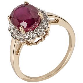 Ring 375 Gelbgold Rubin behandelt Zirkon