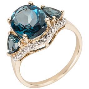 Ring 375 GG London Blue Topas behandelt, Zirkon