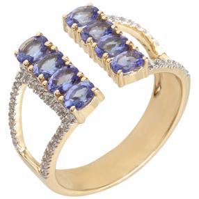 Ring 585 Gelbgold AAAATansanit, Zirkon