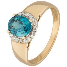 Ring 585 GG Zirkon Blau, Zirkon Weiß