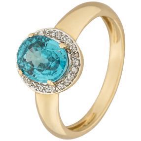 Ring 585 Gelbgold, Zirkon blau/weiß