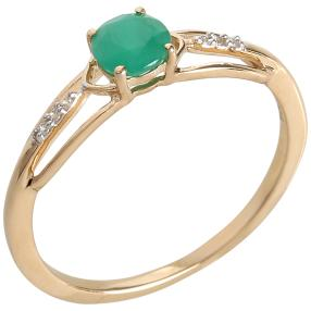 Ring 375 Gelbgold Sakota Smaragd, Zirkon
