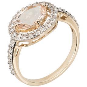 Ring 375 Gelbgold Pink Morganit, Zirkon