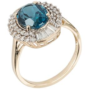 Ring 375 Gelbgold London Blue Topas behand. Zirkon