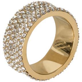 Ring Edelstahl vergoldet Kristalle