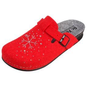 Dr. Feet Damen-Pantoletten rot/grau