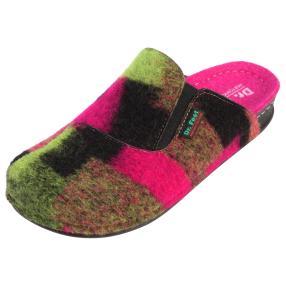 Dr. Feet Damen-Pantoletten Naturwollfilz grün/pink