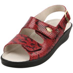 SANITAL LIGHT Damen-Sandaletten rot Schlangenoptik