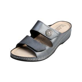 Dr. Feet Damen-Leder-Pantolette grau Klettriemen