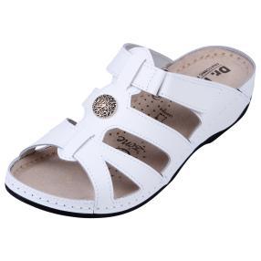 Dr. Feet Damen-Pantolette Leder, weiß