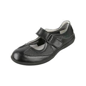 SANITAL LIGHT Damen-Slipper Leder, schwarz