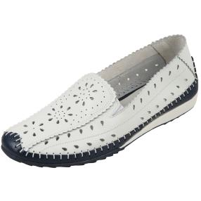 SANITAL LIGHT Damen-Leder-Slipper weiß/blau