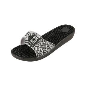 Sanitaria Damen-Pantolette schwarz/weiß Spitze