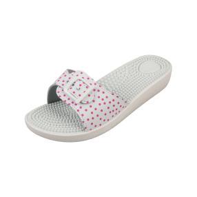 Sanitaria Damen-Pantolette weiß/pink, Punkte
