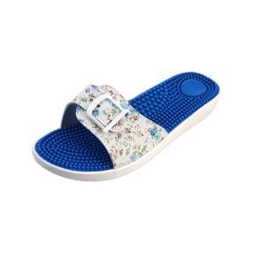 Sanitaria Damen-Pantolette blau/weiß, Blumen
