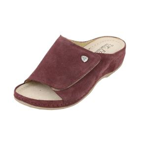 Dr. Feet Damen-Leder-Pantolette weinrot, Klett