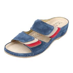 Dr. Feet Damen-Leder-Pantolette blau, Klettriemen