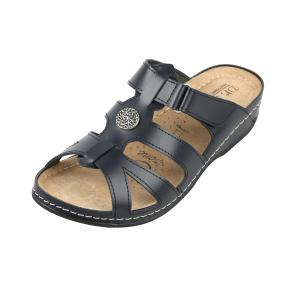 Dr. Feet Damen-Leder-Pantolette dunkelblau