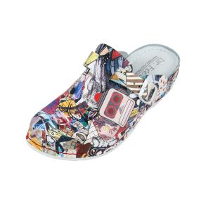 Dr. Feet Damen-Leder-Pantolette multicolor