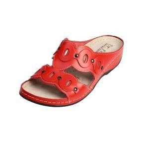 Dr. Feet Damen-Leder-Pantolette rot