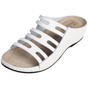 Dr. Feet Damen-Leder-Pantolette weiß