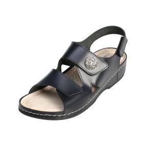 Dr. Feet Damen-Leder-Sandalette navy Klettriemen