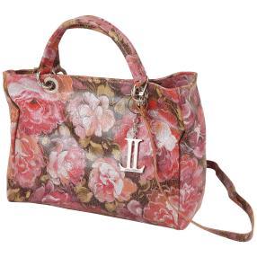 Luca Lorenzo Ledertasche Blumen pink, metallic