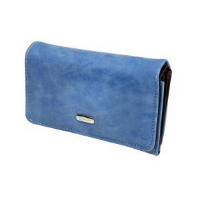 DONNA Damenbörse Velourtouch, blau