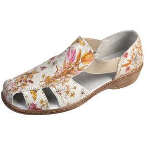 TOPWAY Damen Leder Slipper Flowers, hellgrau