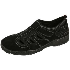 Dr. Feet Herren Leder Slipper, schwarz