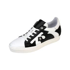 ShoeCOLATE Damen-Leder-Schnürer, weiß/schwarz