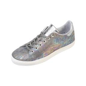 ShoeCOLATE Damen-Leder-Schnürer, silber metallic