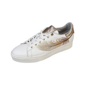 ShoeCOLATE Damen-Leder-Schnürer, weiß/gold