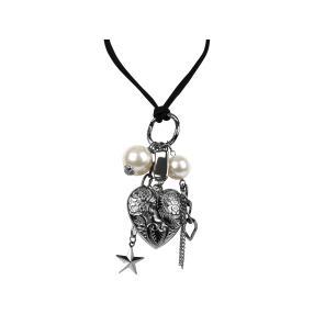 Herzkette Ricarda, Glasperlen weiß
