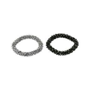 Zugarmband Set 2-teilig, silber und schwarz