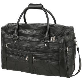 Reisetasche Patch-Leder, schwarz