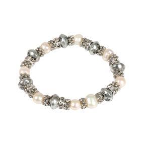 crystal blue Armband, silber/weiß