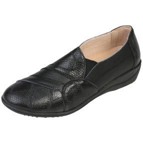 TOPWAY Comfort Leder Damen-Slipper, schwarz